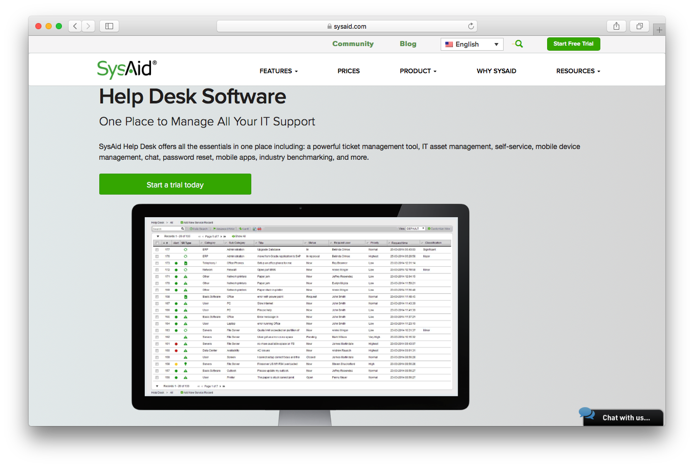 SysAid features screenshot help desk software it support ticket management tool it set management self service mobile device chat password reset apps industry benchmarking