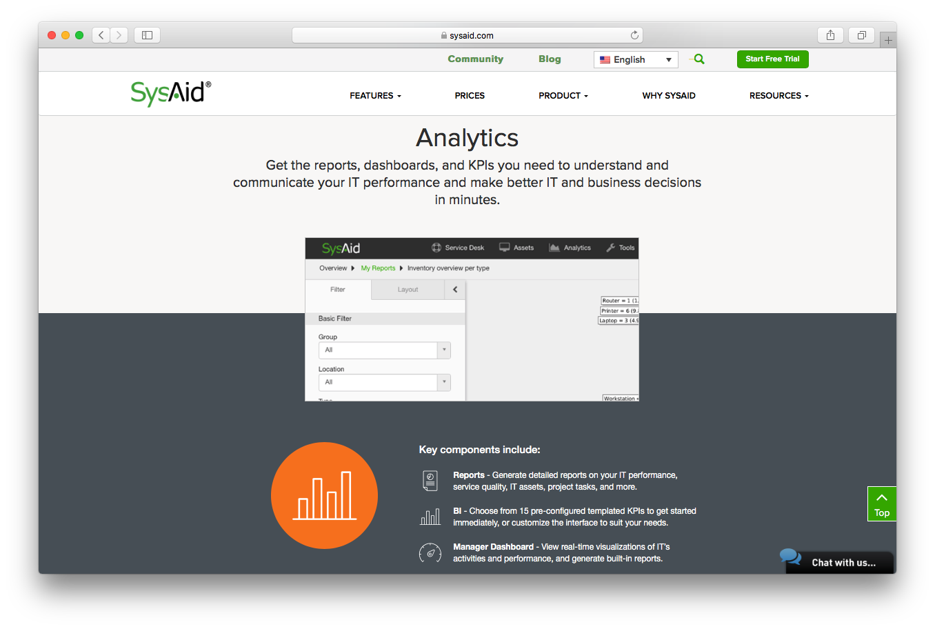 SysAid features screenshot analytics reports dashboards KPIs understand communicate it performance business decisions