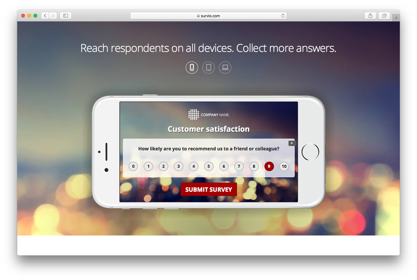 Survey homepage screenshot reach respondents all devices collect more answers mobile tablet pc laptop