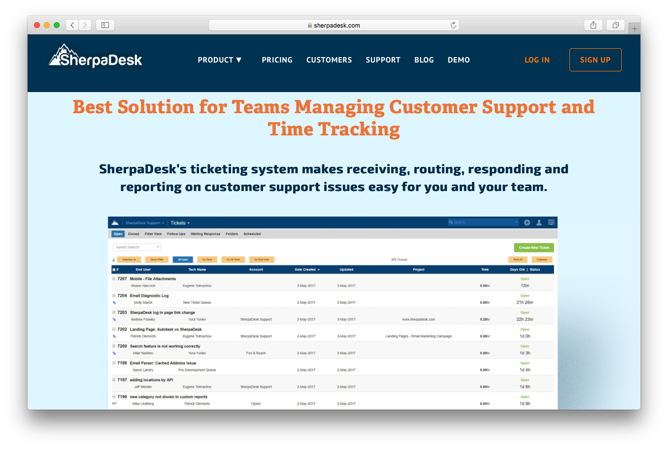 SherpaDesk product screenshot help desk ticketing customer support time tracking ticketing system