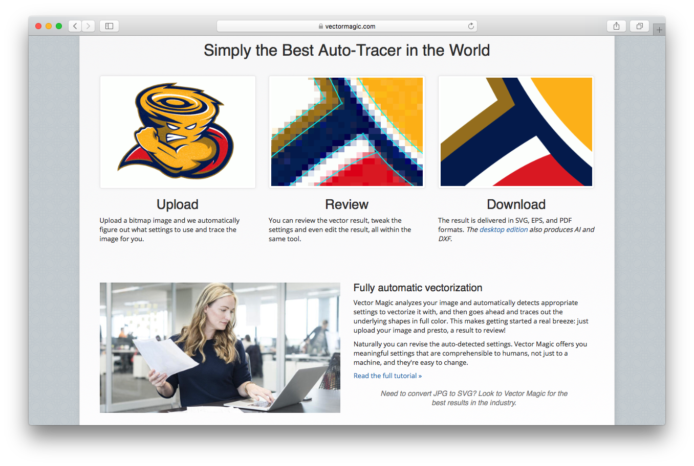 Vector Magic homepage upload review download full automatic vectorization