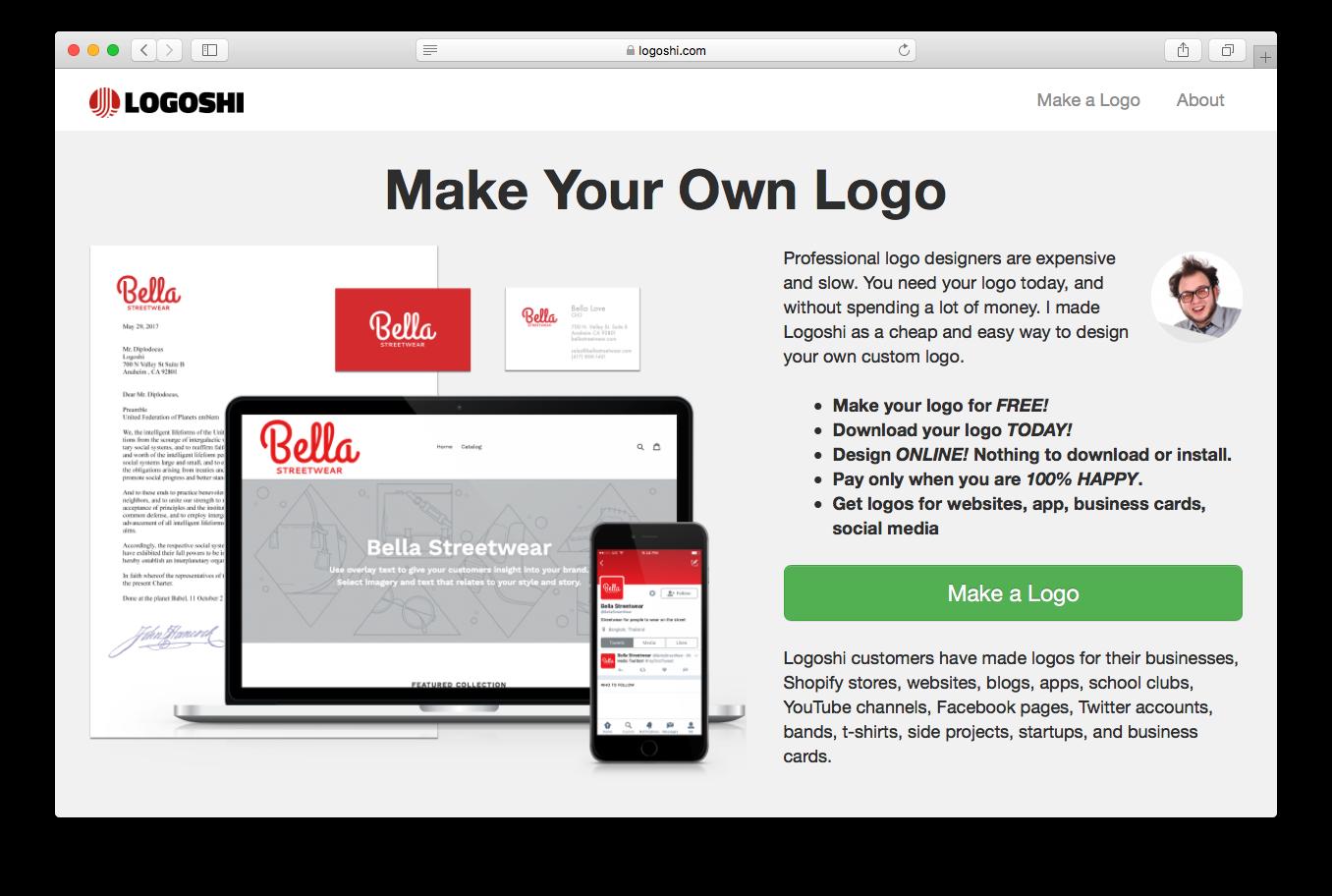Logoshi homepage screenshot make professional logo design free online