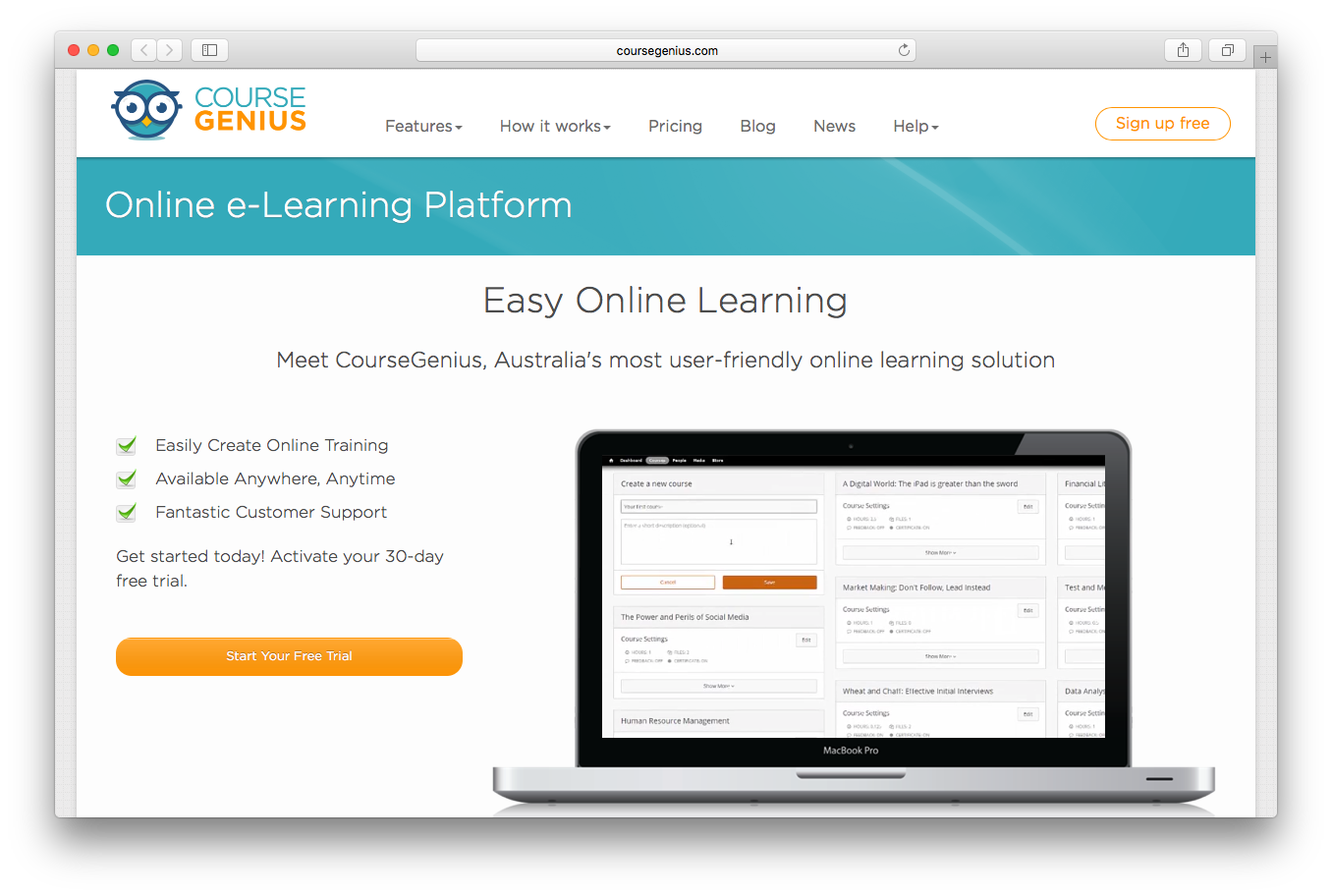 CourseGenius online e-learning platform user friendly