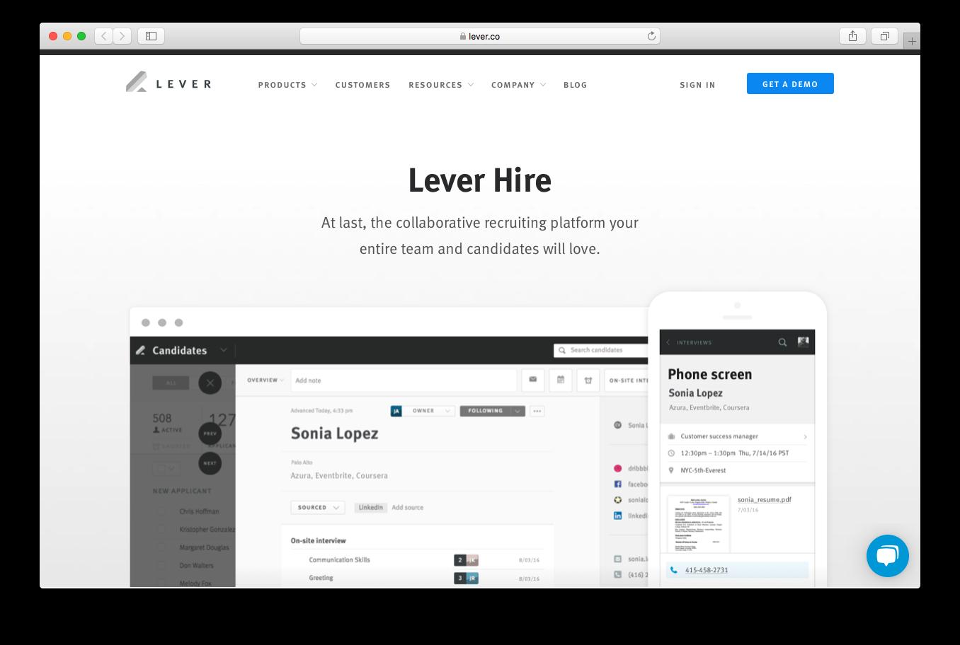 lever hire collaborative recruitment platform team candidates
