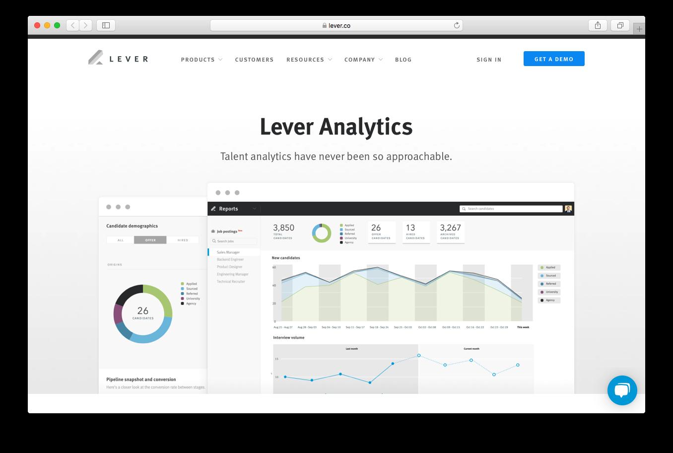 Lever analytics talent reports demographics pipeline