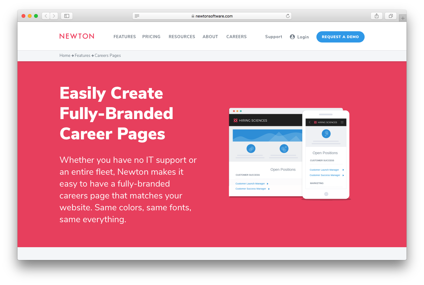 Newton branded career pages