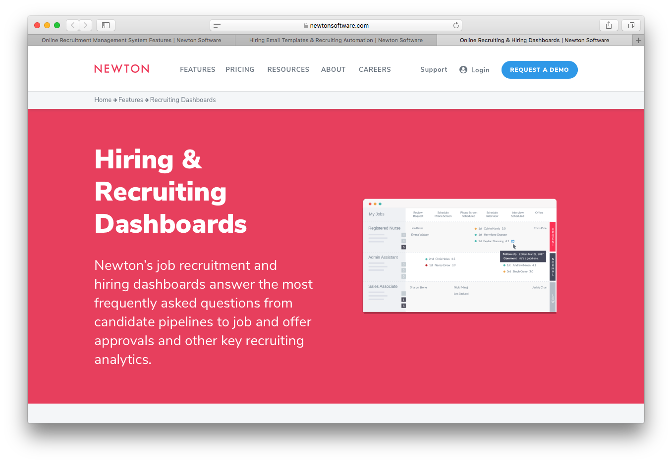Newton hiring recruiting dashboards