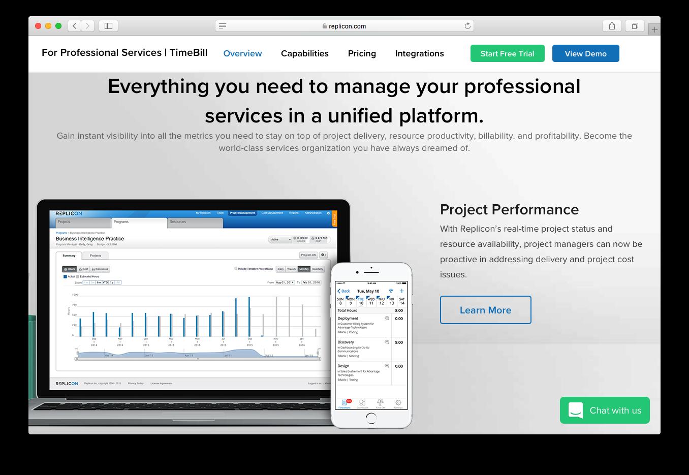 Replicon timebill professional services project delivery resource productivity billability profitability