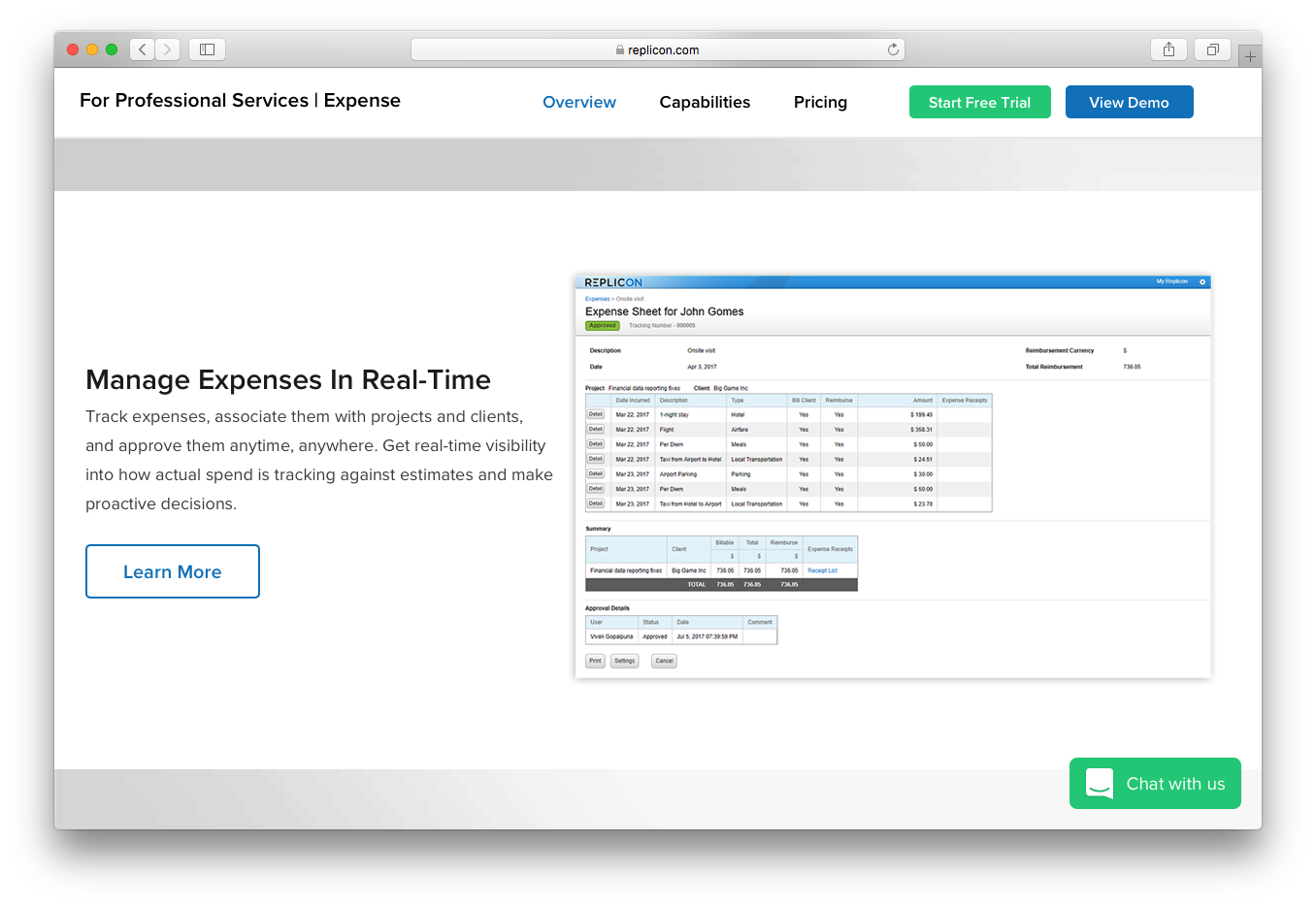 Replicon expense manage real time