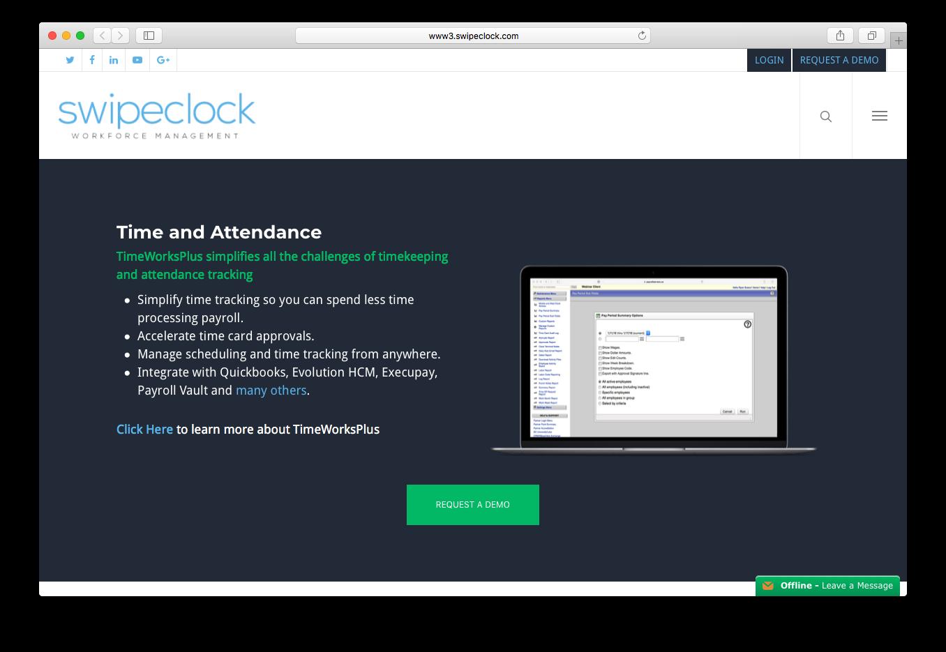 Swipeclock workforce management suite timeworksplus time keeping attendance tracking