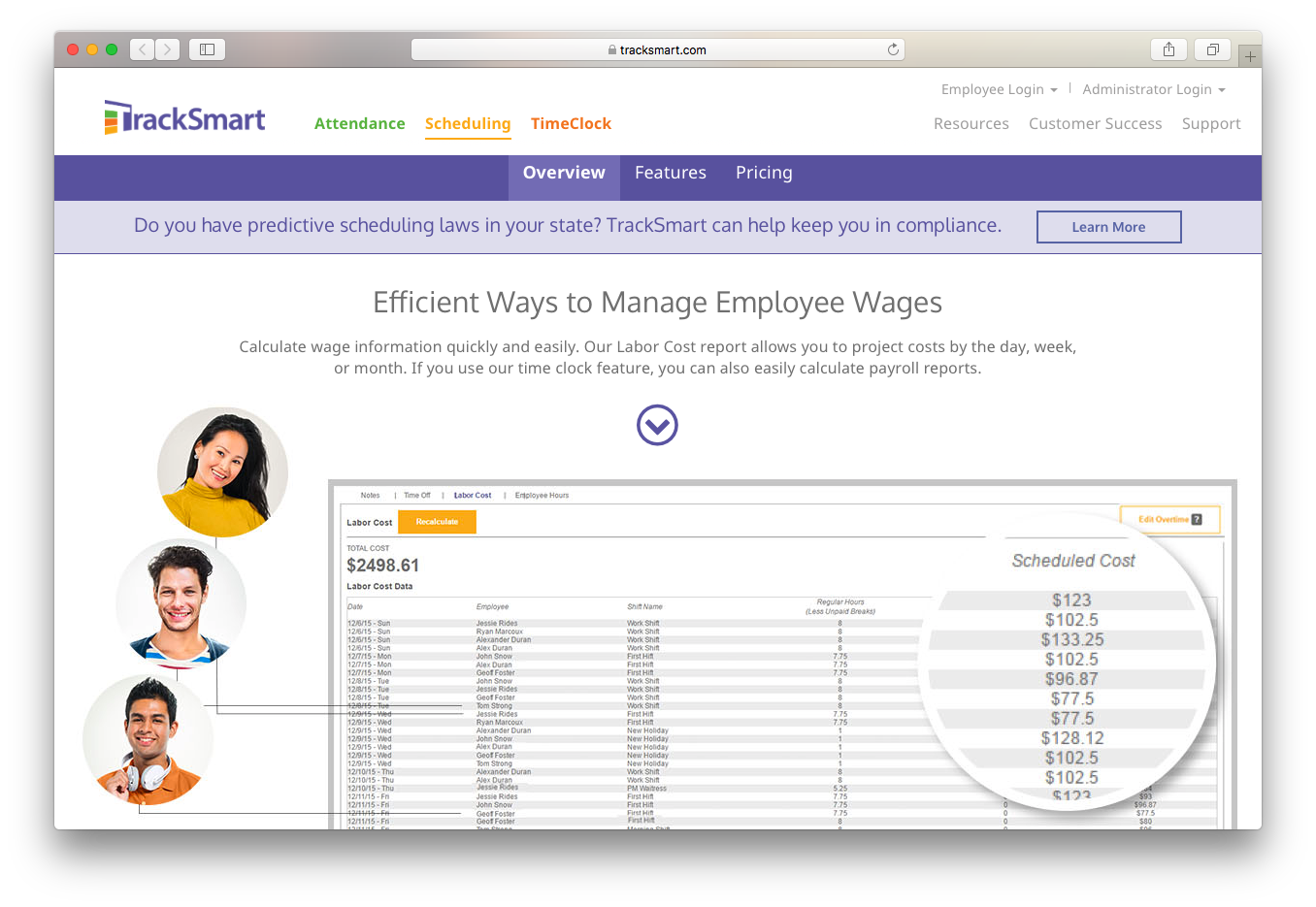 tracksmart scheduling manage employee wages