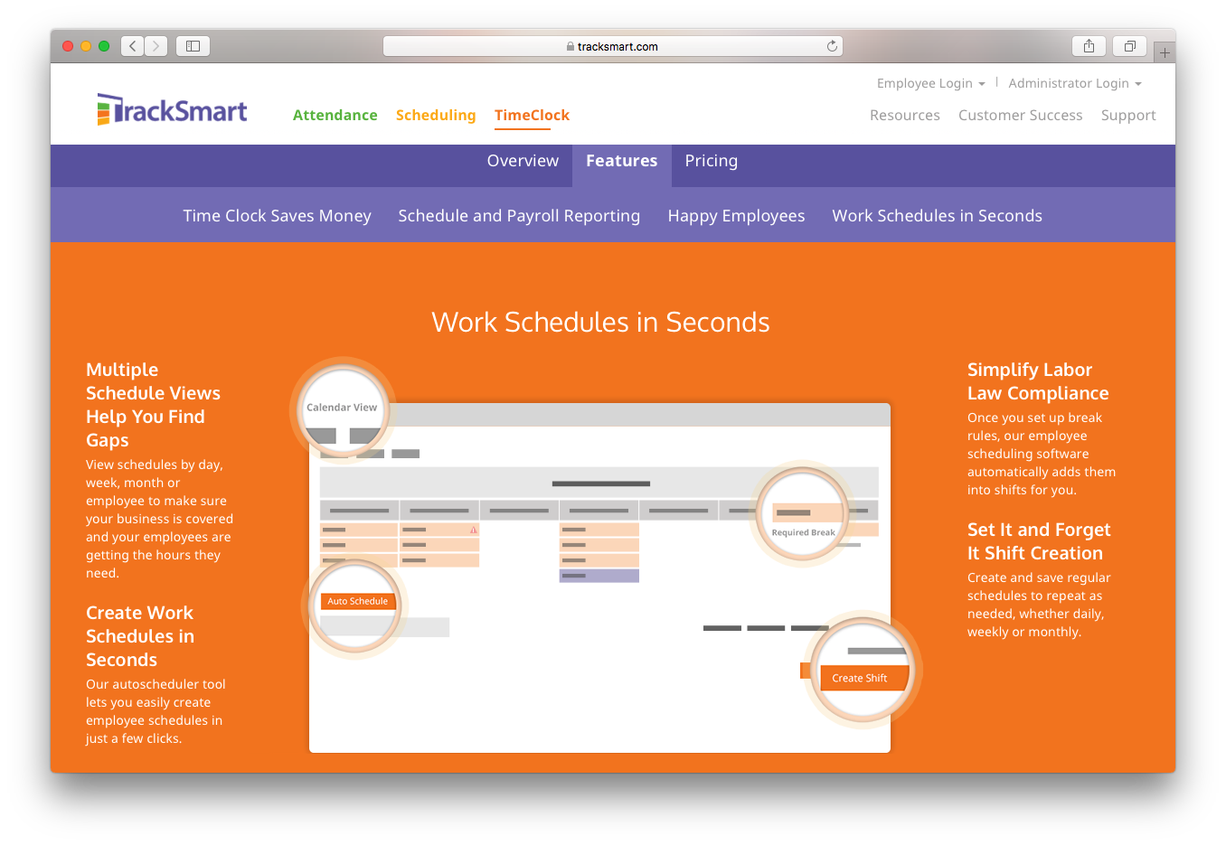 TrackSmart timeclock work schedules payroll calendar shift break employees