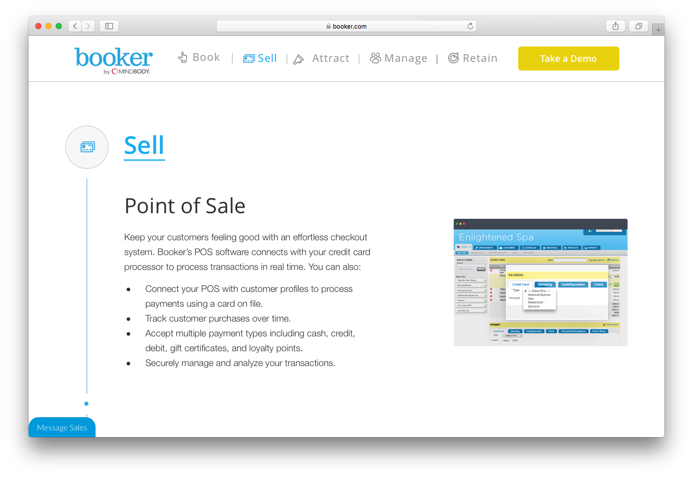 Booker sell point of sale POS software process transactions track purchases