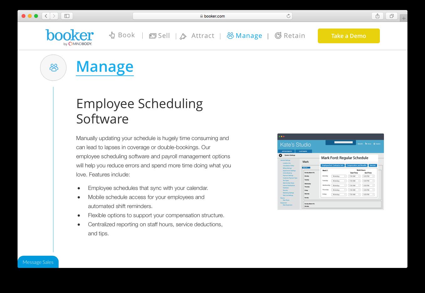 Booker manage employee scheduling software payroll management calendar