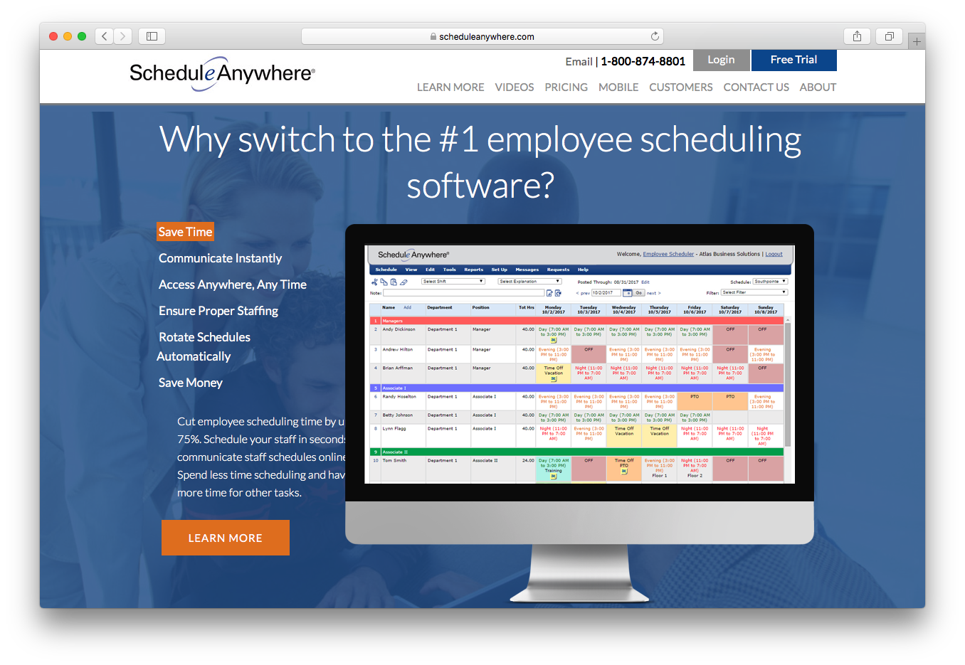 ScheduleAnywhere employee scheduling software save time communicate