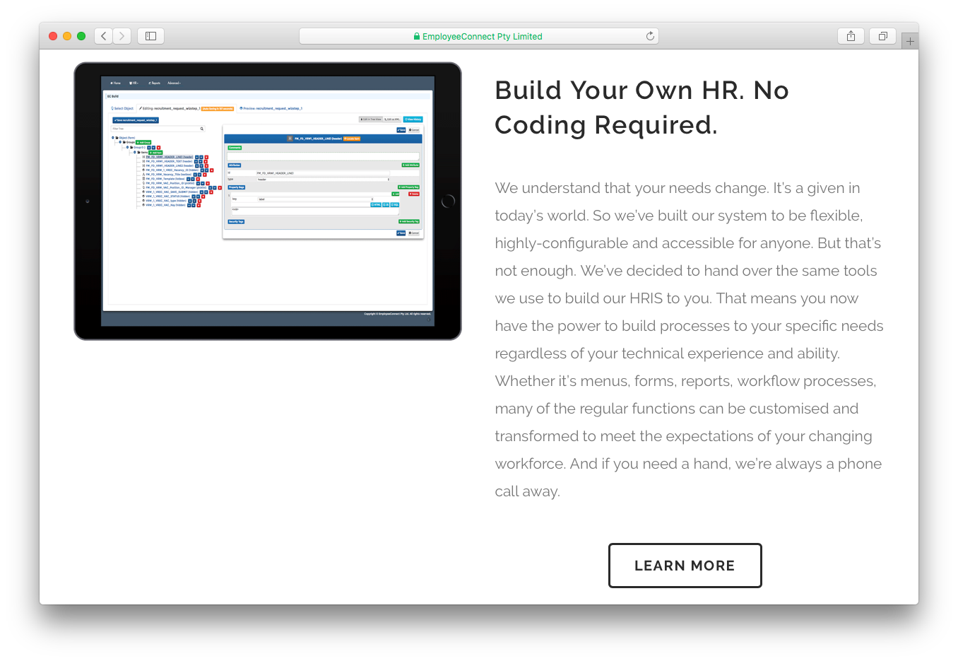 EmployeeConnect build own HR Human Resources no coding
