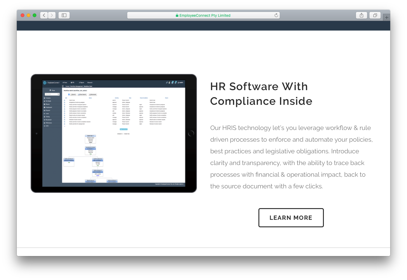 EmployeeConnect HR software Human Resources HRIS technology workflow