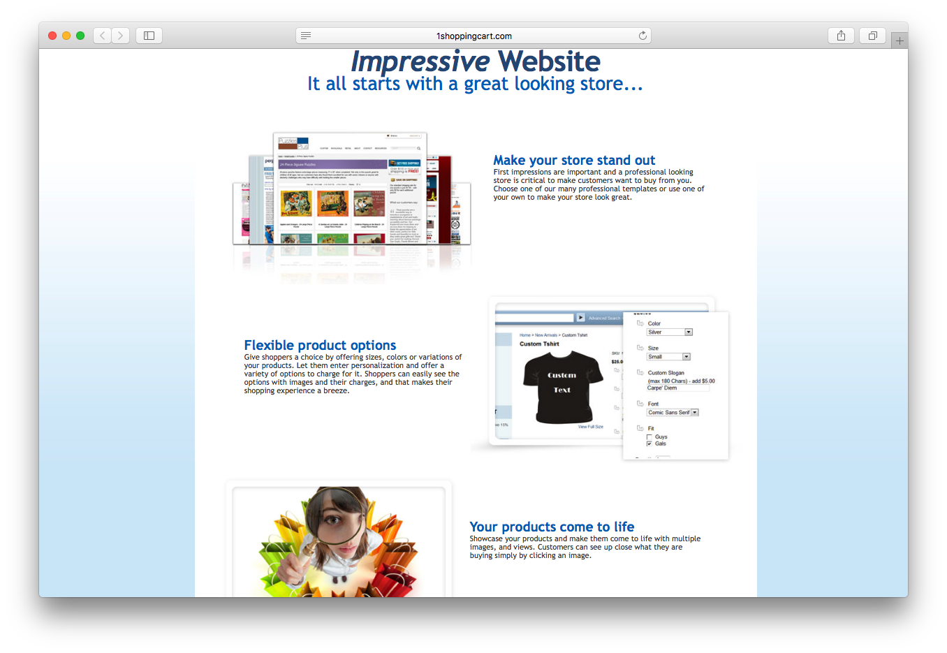 1ShoppingCart website store professional templates flexible product options