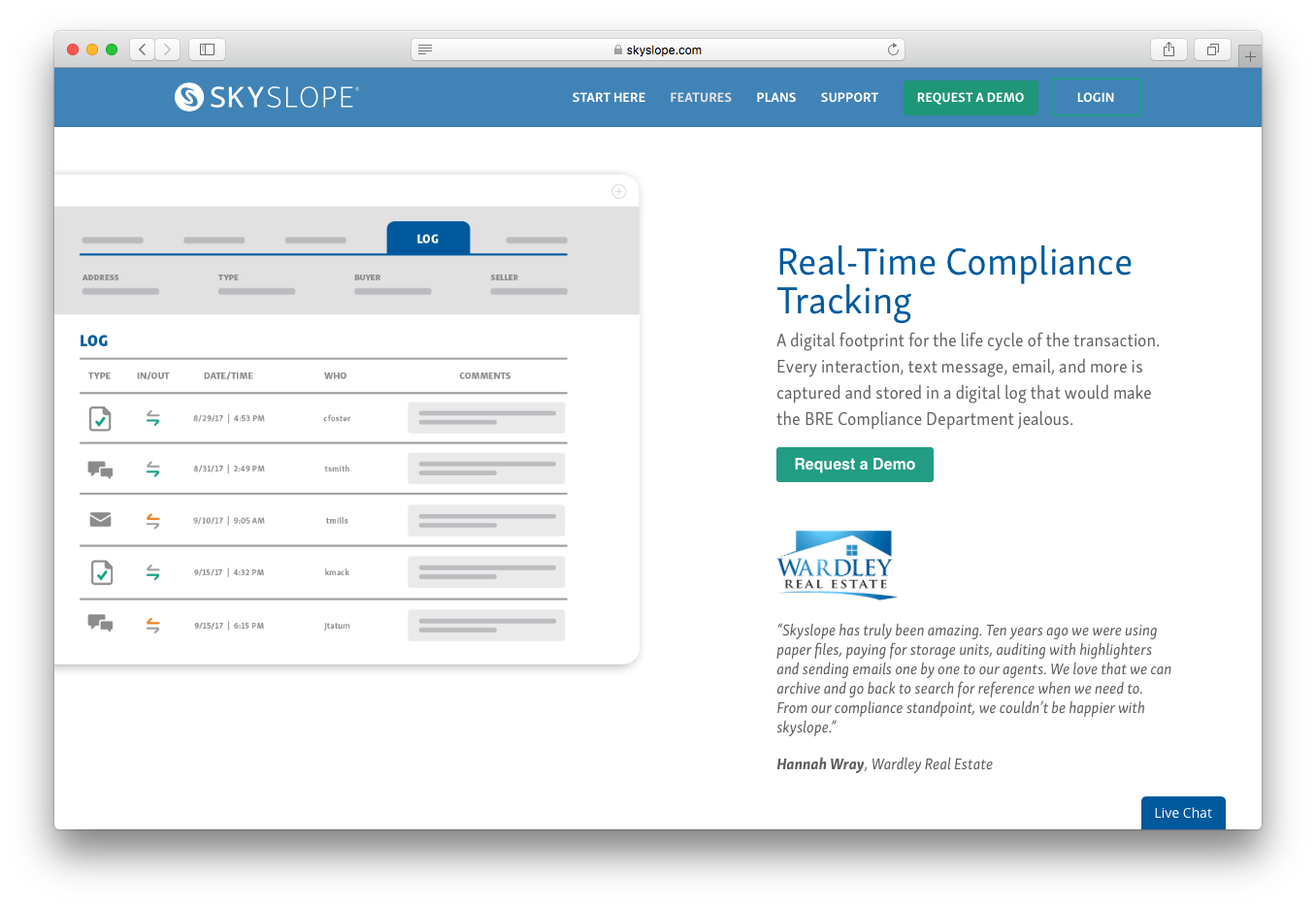 SkySlope real time compliance tracking transaction interactions