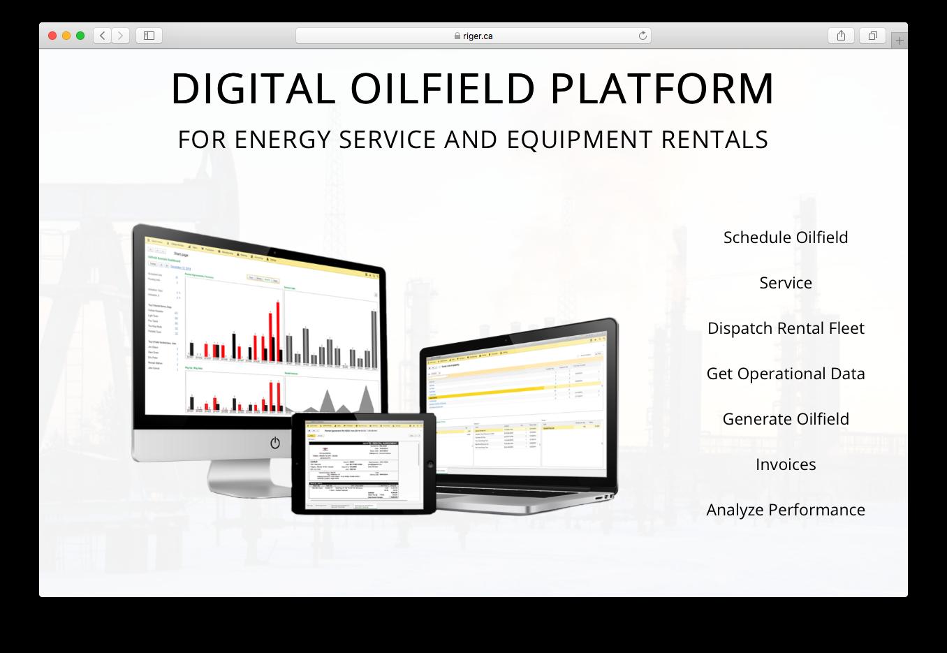 RigER digital oilfield platform energy service equipment rentals