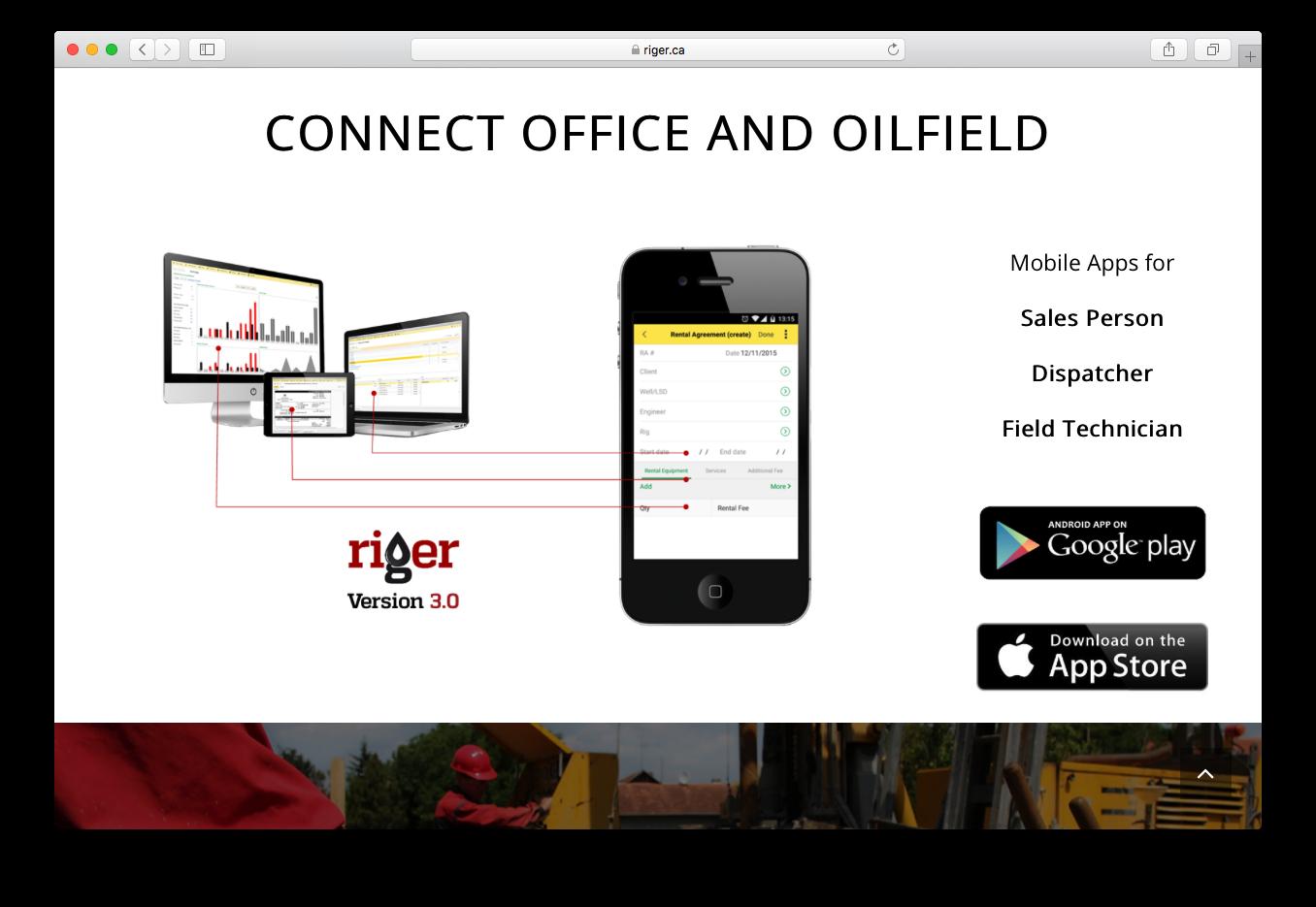 RigER connect office oilfield mobile app sales dispatcher field technician