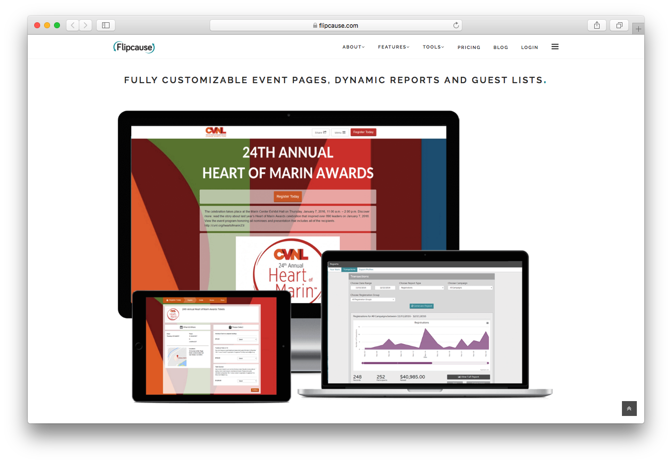 Flipcause events customizable pages dynamic reports guest lists