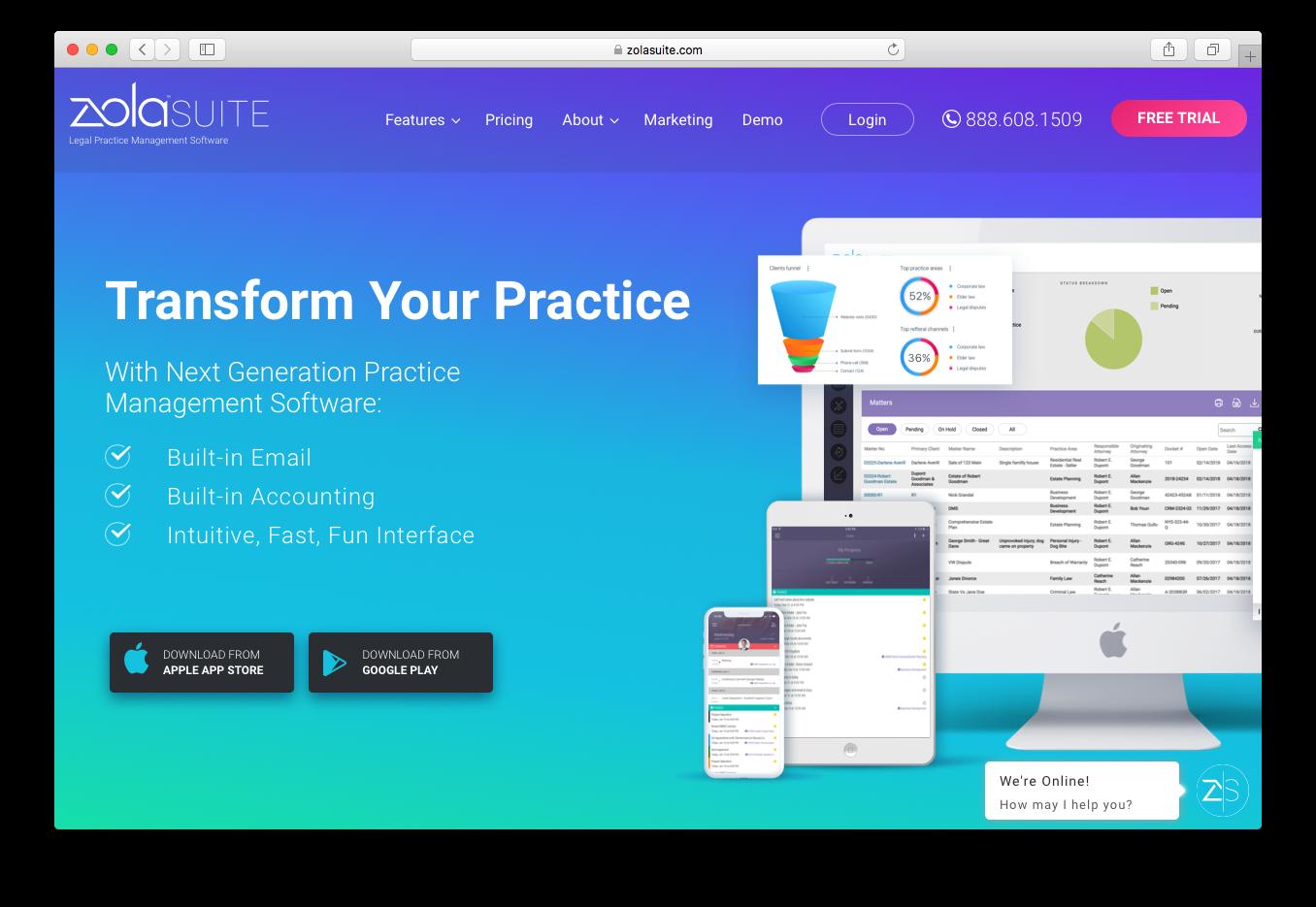 Zola Suite practice management software
