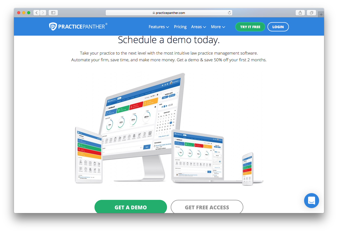 PracticePanther schedule demo free trial access