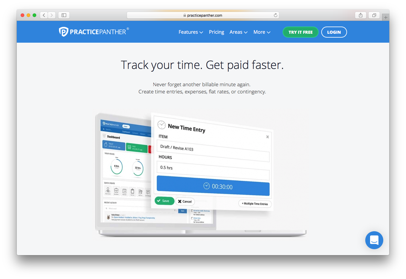 PracticePanther track time get paid faster billable minute time entries expenses flat rates contingency
