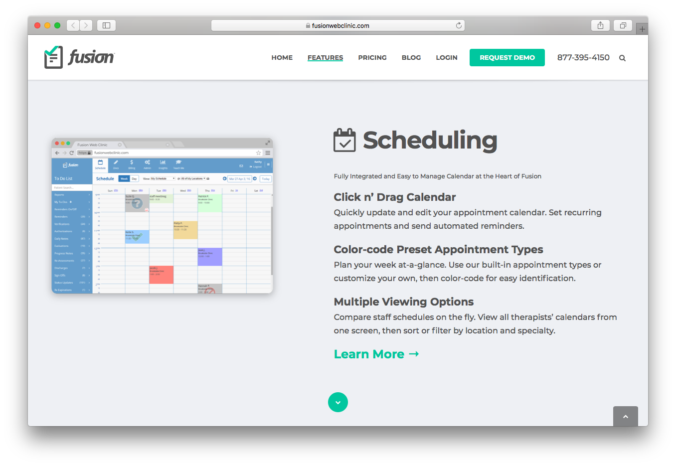 Fusion Web Clinic scheduling integrated calendar click drag color code preset appointment