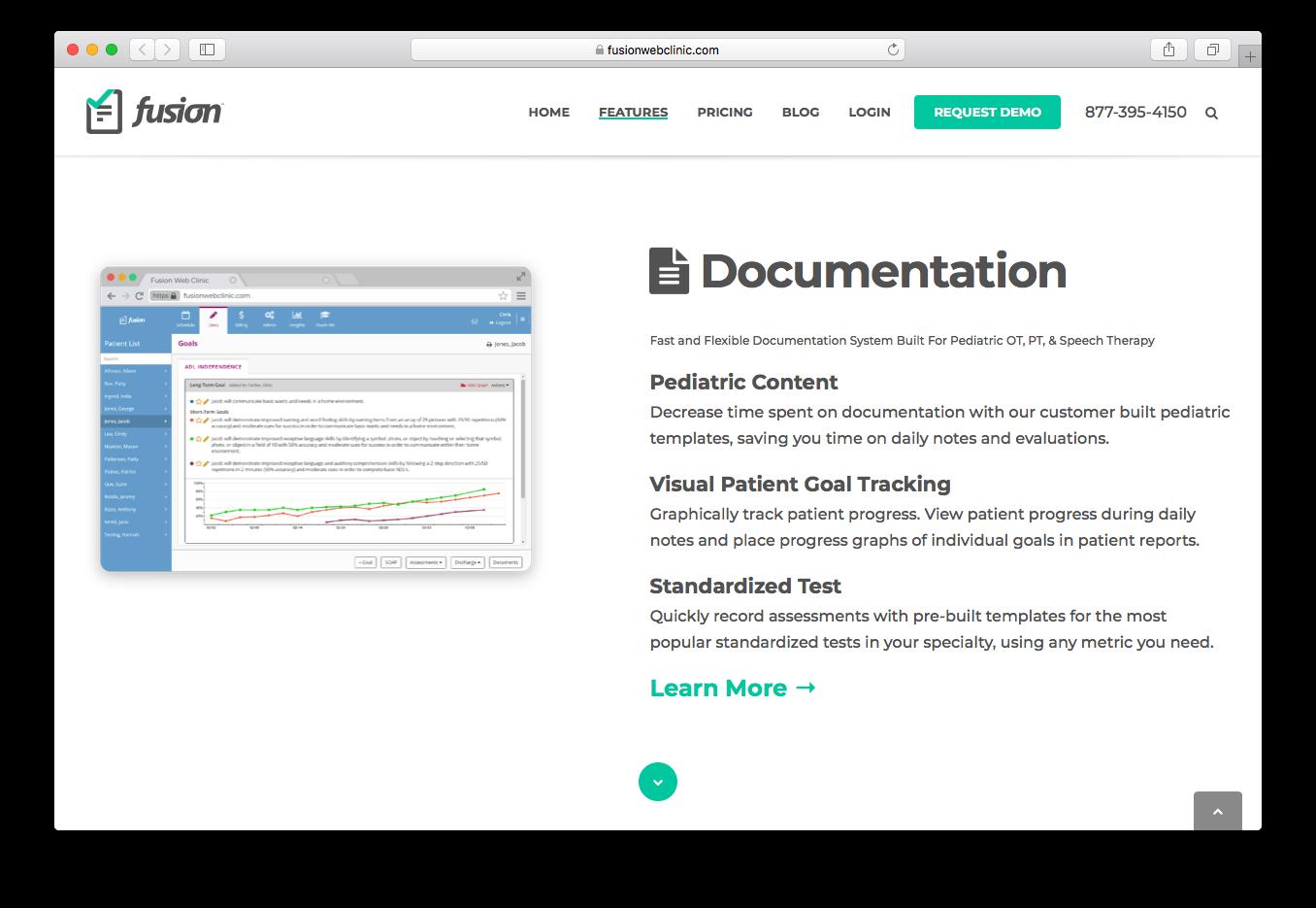 Fusion Web Clinic documentation pediatric content visual patient goal tracking standardized test