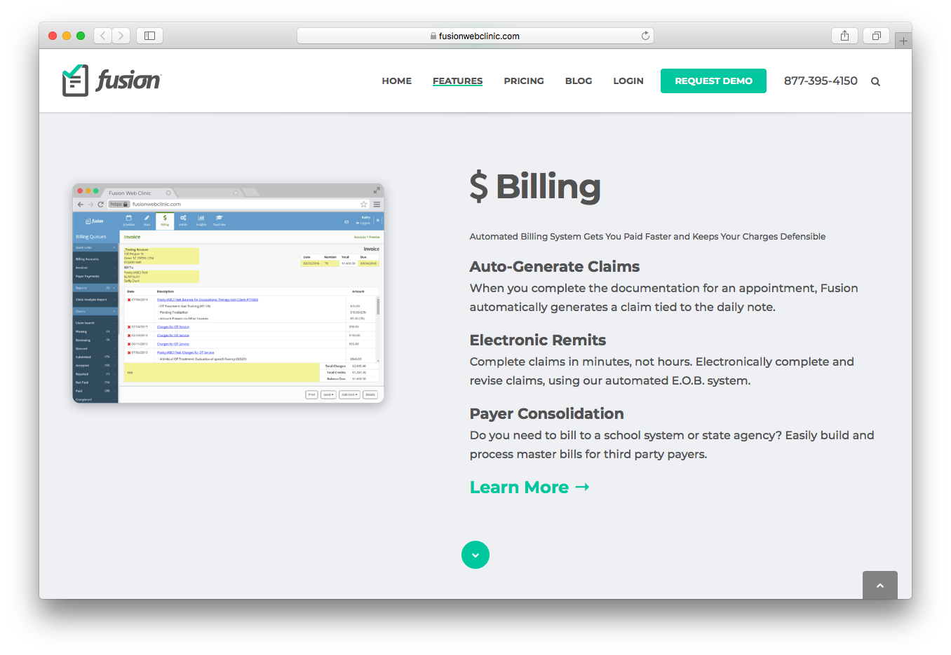 Fusion Web Clinic billing auto generate claims electronic remits payer consolidation