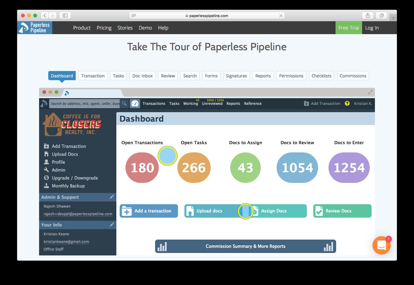 Paperless Pipeline dashboard open transactions tasks docs