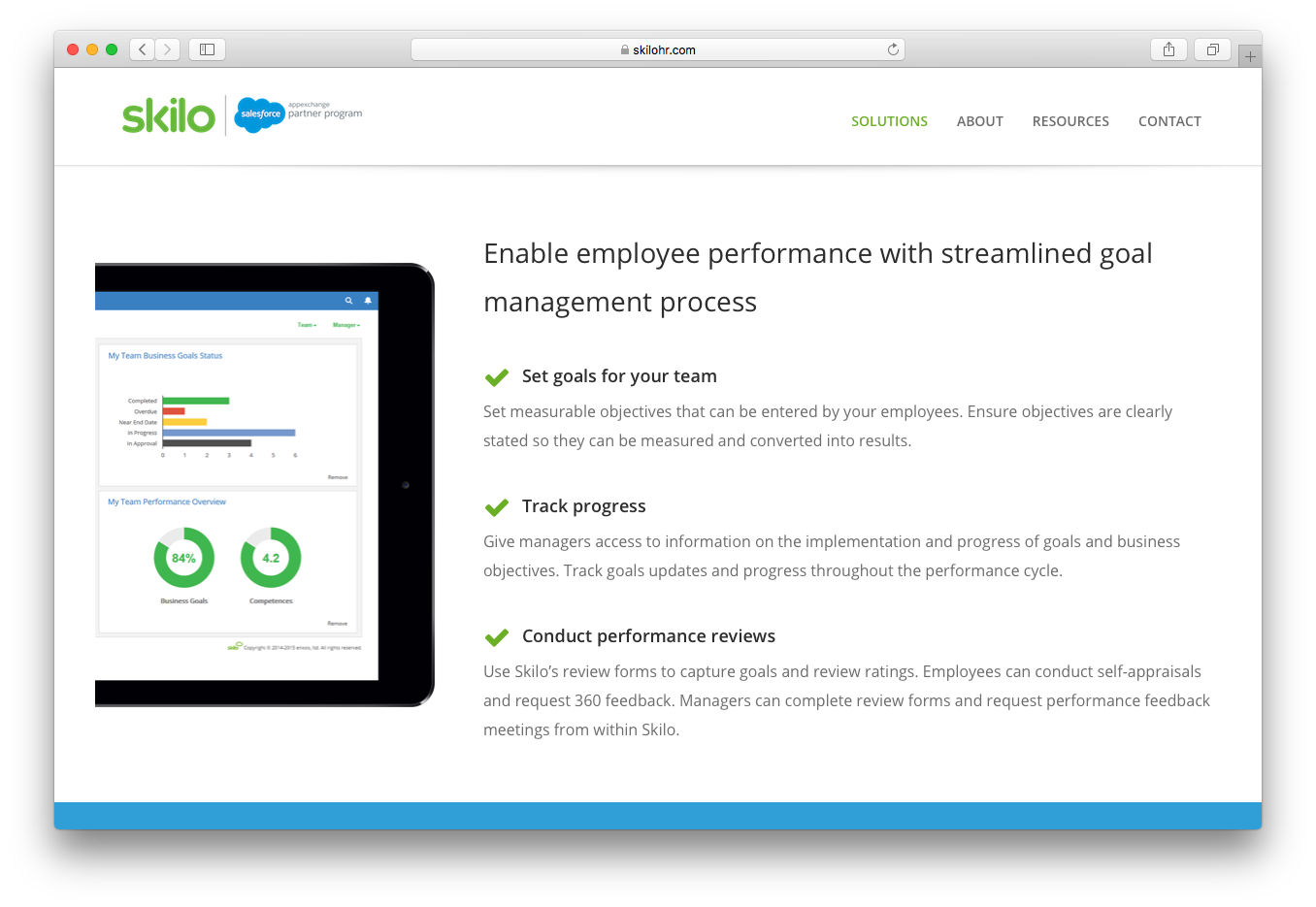 Skilo performance management review employee performance streamlined goal management process track progress