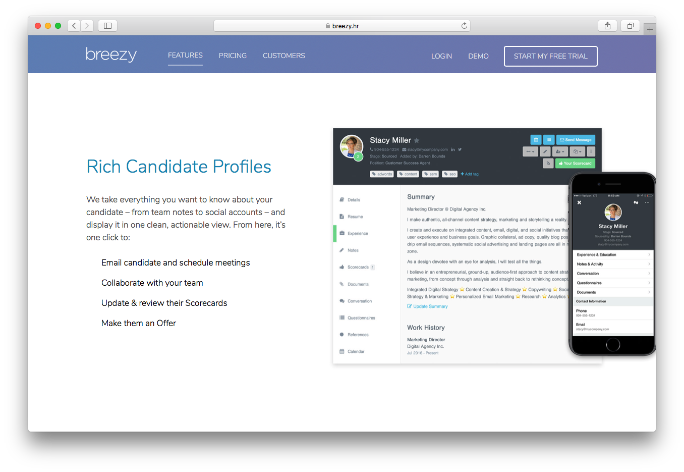 BreezyHR candidate management profiles email schedule meetings collaborate team update review scorecards make offer