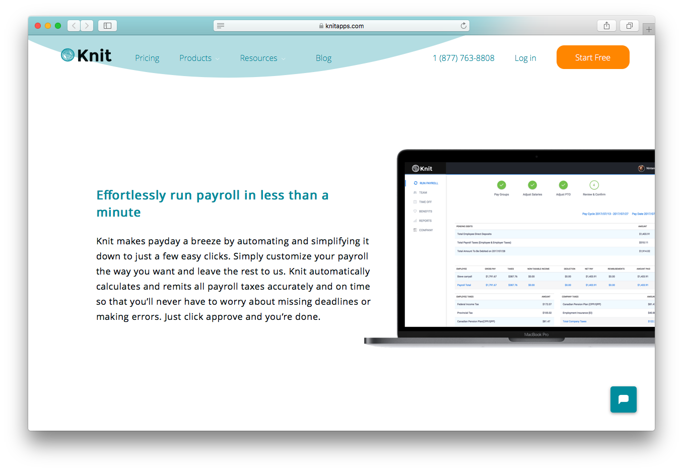 KnitApps payroll automatic calculate remit tax paperless payment custom reports