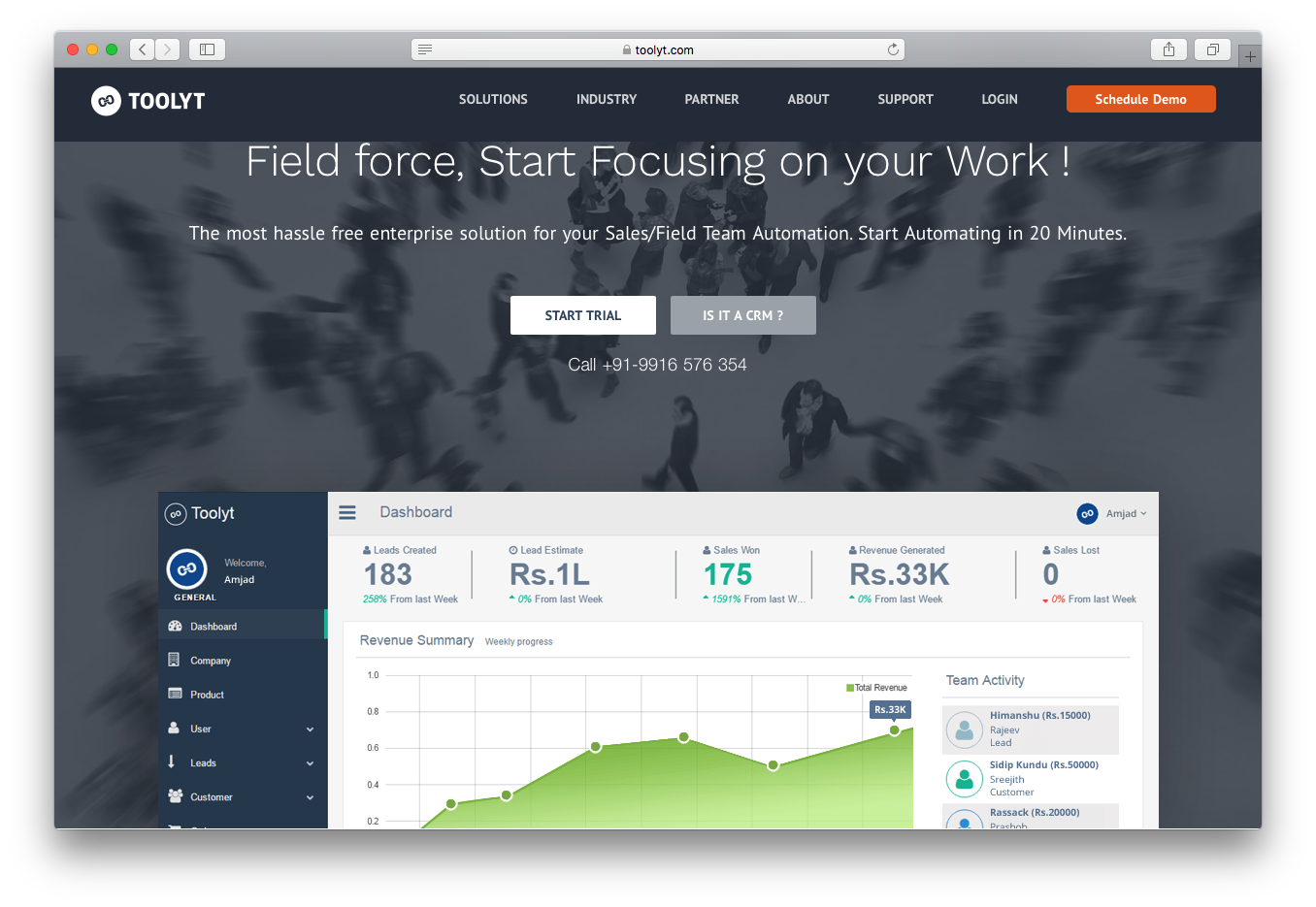 Toolyt sales field team force automation dashboard