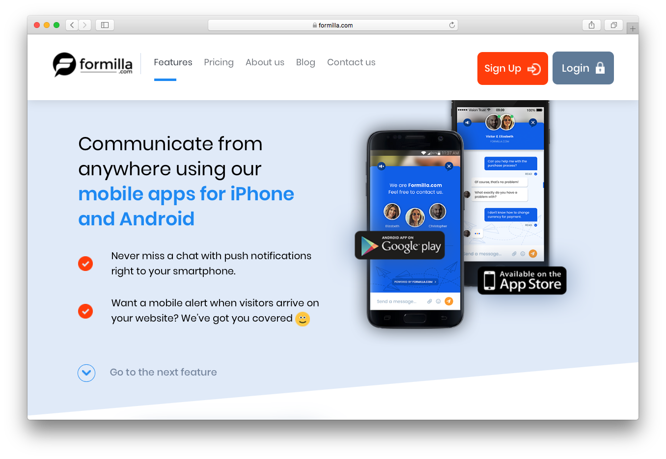 Formilla communicate anywhere mobile apps iPhone android smartphone push notifications alert