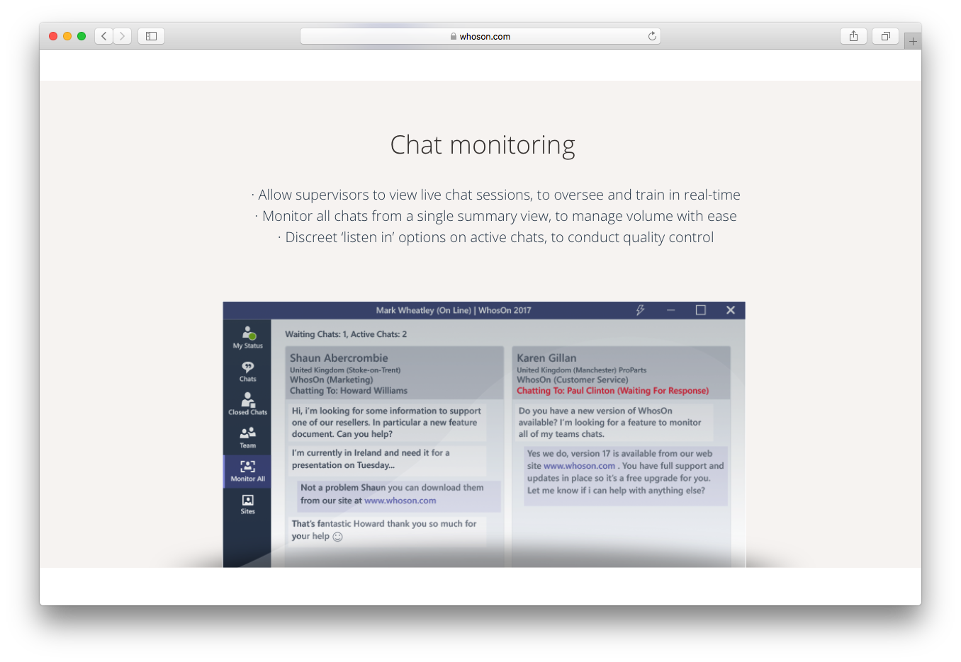 WhosOn live chat monitoring supervisors oversee train real time quality control