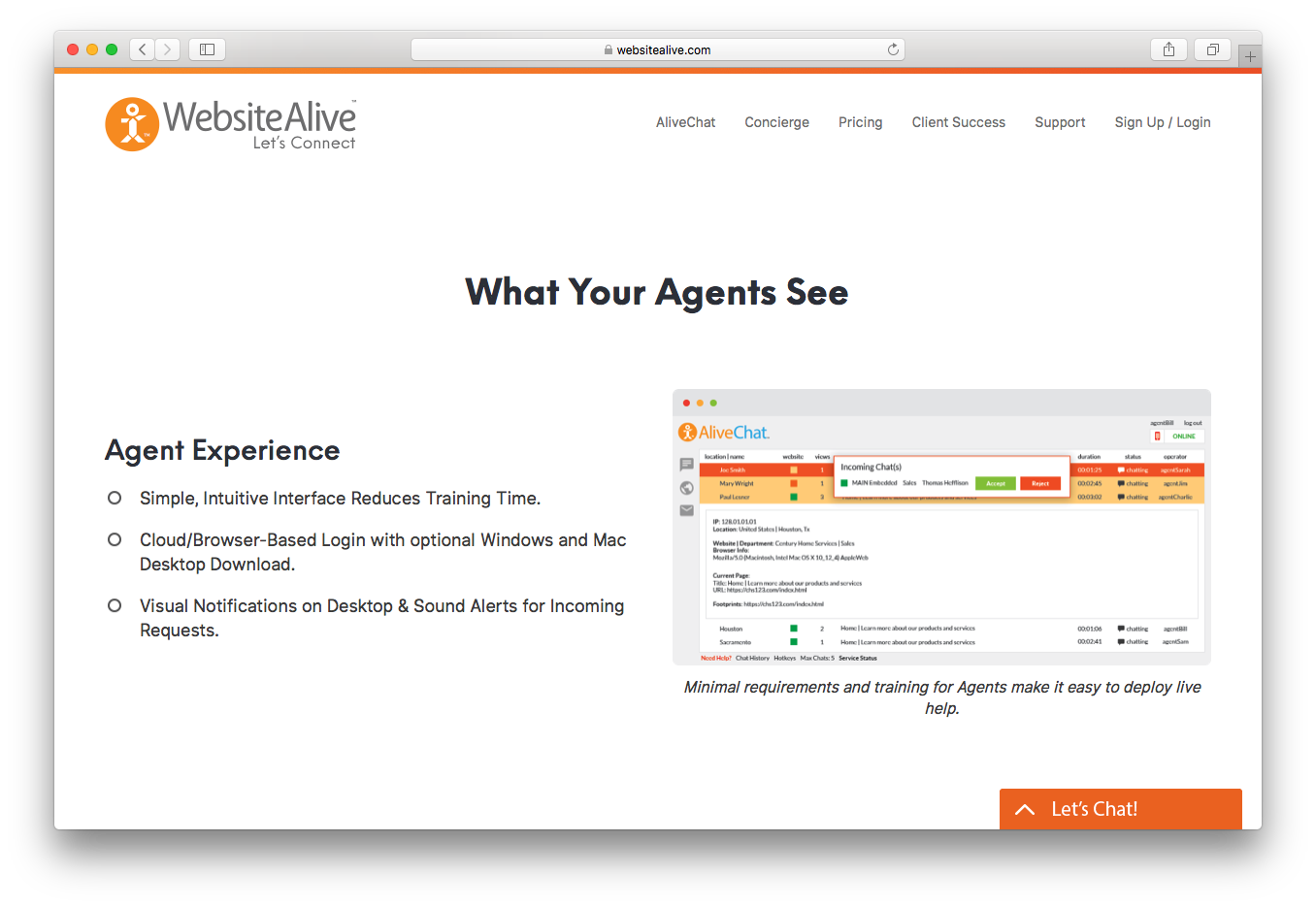 Websitealive agents experience interface cloud browser based notifications alerts requests