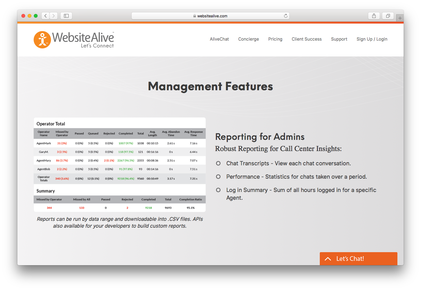Websitealive management reporting admins chat transcripts performance
