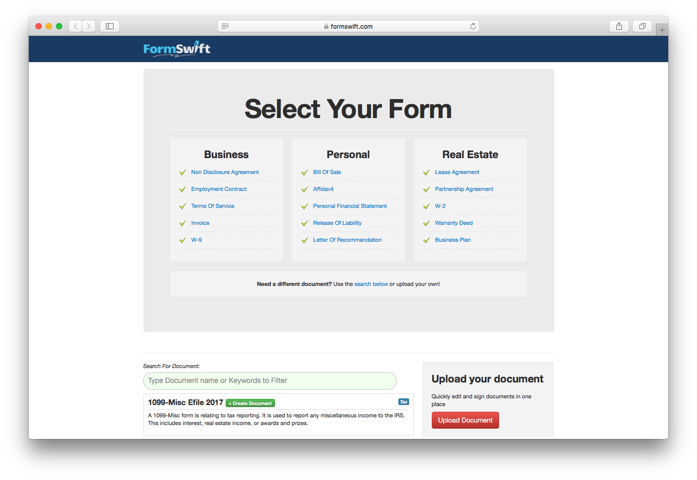 Formswift legal forms business personal real estate search upload