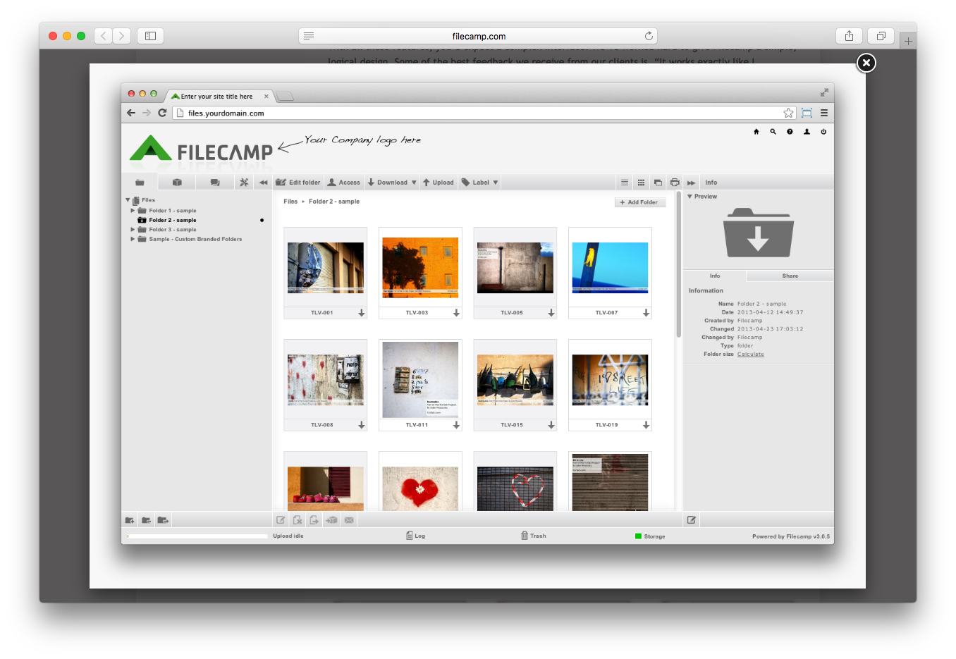Filecamp user interface customize folder