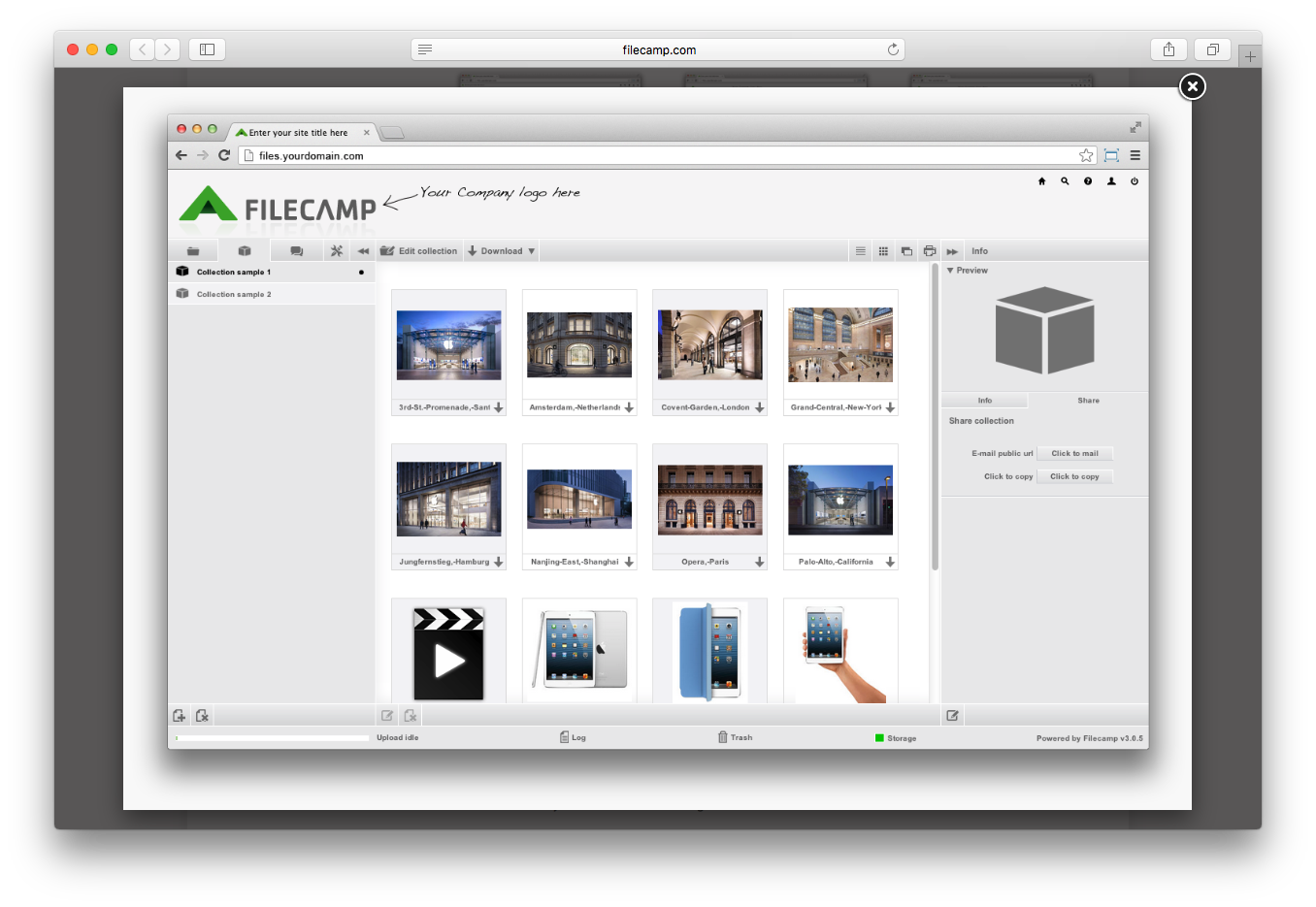 Filecamp collections collaboration cloud folders