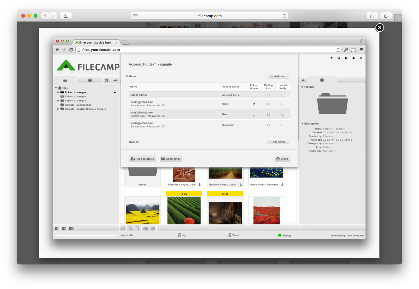 Filecamp user access permissions security download