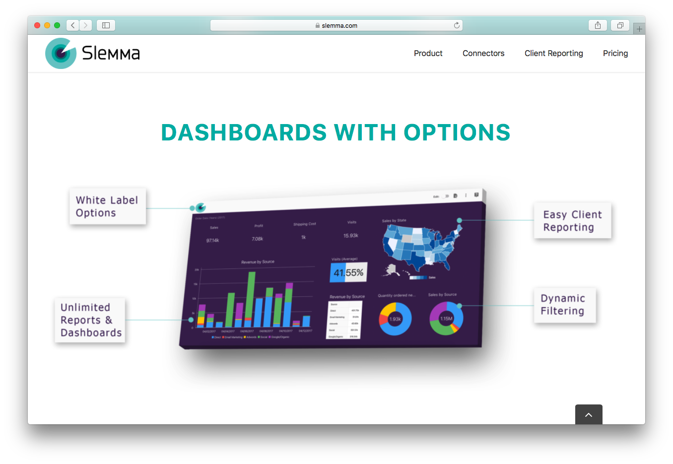 Slemma dashboard white label unlimited client reports dynamic filtering