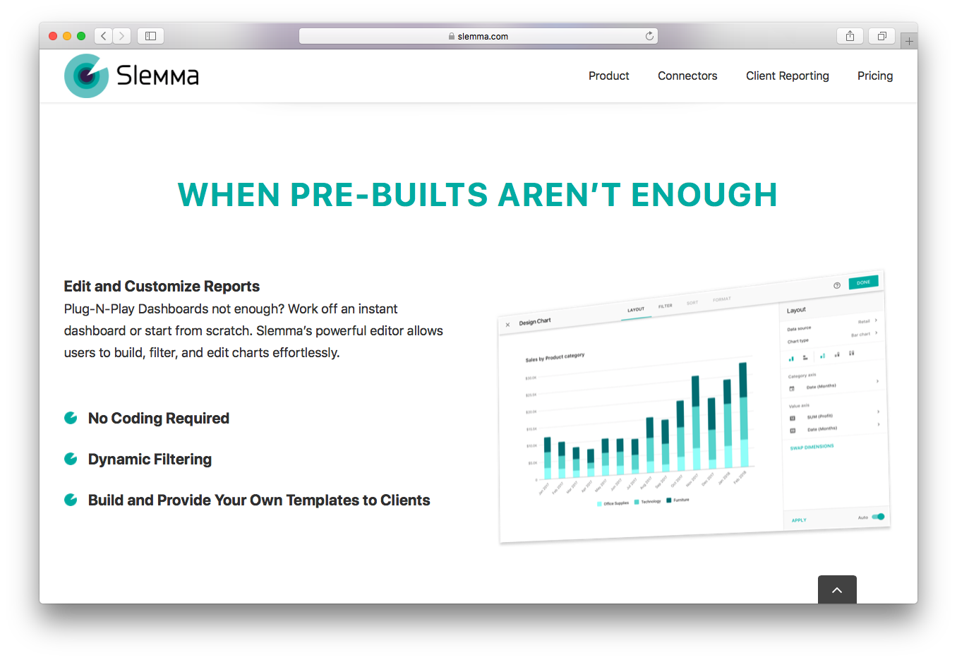 Slemma edit customize reports no coding dynamic filtering build provide templates clients