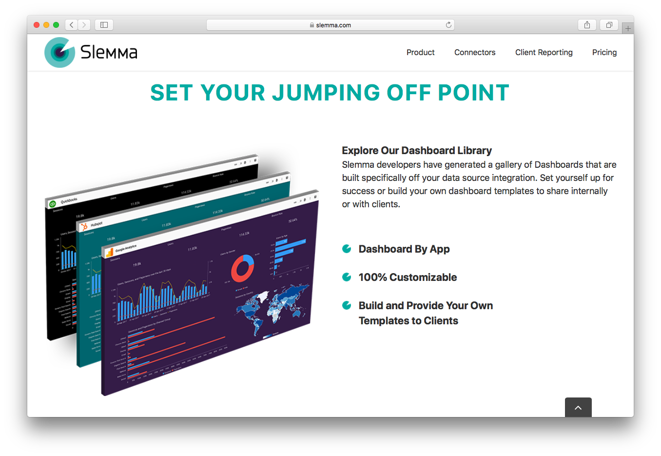 Slemma dashboard library templates by app third party integration