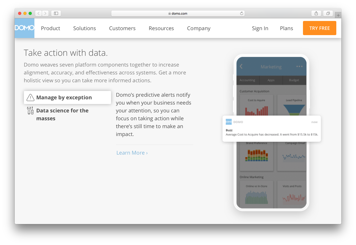Domo alerts center manage by exception data science for masses