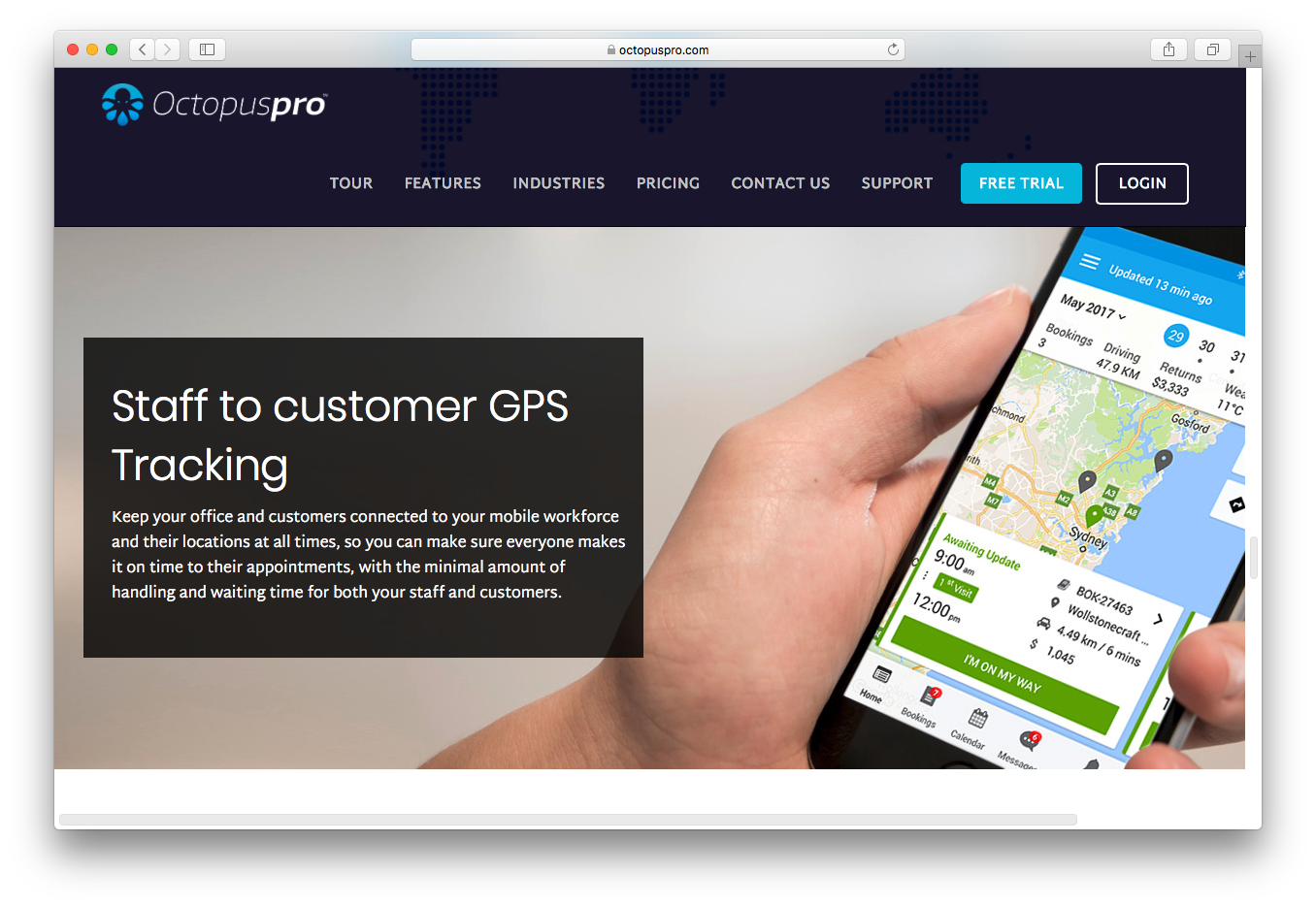 OctopusPro staff customer gps tracking mobile workforce appointments
